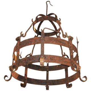 18th Century Iron Pot Holder Chandelier