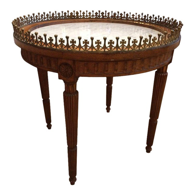French Carved Wood & Marble Cocktail Side Table - Image 1 of 9