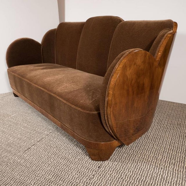 "This streamline ""Cloud"" series Art Deco sofa or loveseat features elegant undulating curves of book-matched walnut,..."