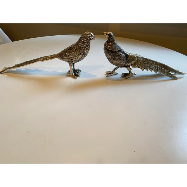 Metal Birds Silver Figurines - A Pair For Sale - Image 7 of 7