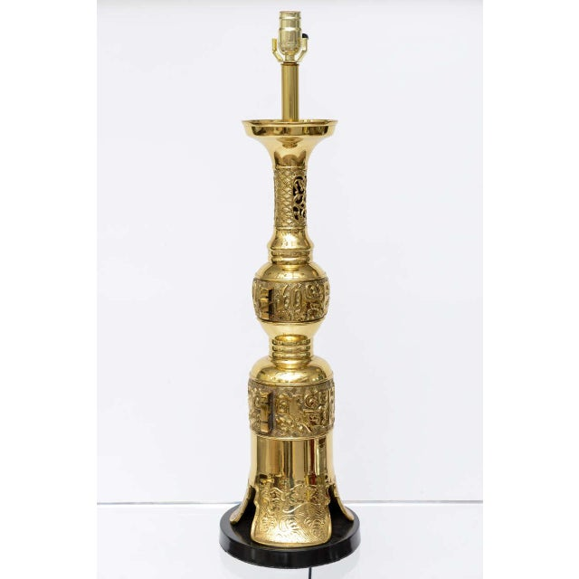 Hollywood Regency Brass Table Lamp in the Style of James Mont - Image 3 of 9