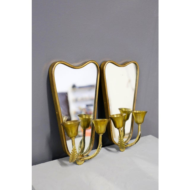 Metal Pair of Italian MidCentury Applique With Mirror in Brass 1950s For Sale - Image 7 of 7