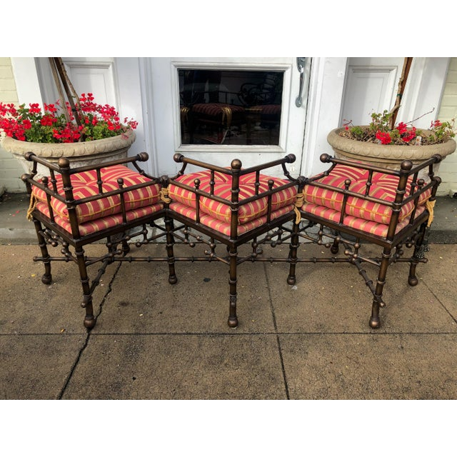Abstract Expressionism Directoire Style Triple Corner Chair Designer Bench W Iron Bamboo Frame For Sale - Image 3 of 4