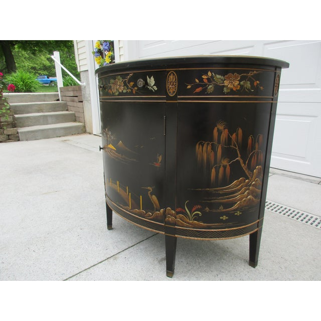 Early 20th Century 20th Century Chinoiserie Black Lacquered Demi-Lune Commode or Cabinet For Sale - Image 5 of 11