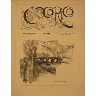1899 Original Cocorico Masthead (Mucha) and Illustration (A. Lepere) For Sale