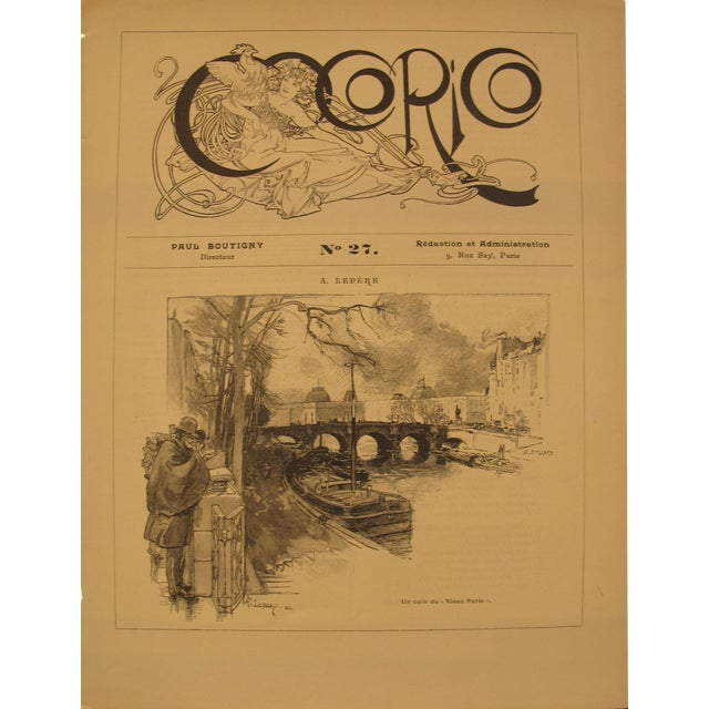 1899 Original Cocorico Masthead (Mucha) and Illustration (A. Lepere) For Sale