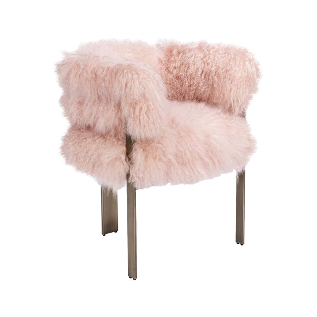 2010s Darcy Chair - Blush Sheepskin For Sale - Image 5 of 5
