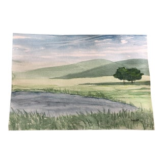"Nancy Smith ""Pond Hill"" Original Watercolor Painting For Sale"