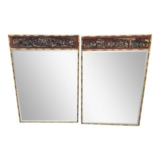 Pair of Art Deco Hollywood Regency Japanese Designer Mirrors W Temple Carvings For Sale