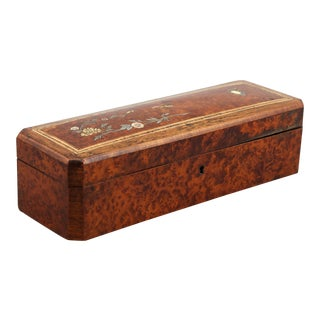 French Burl Wood Glove Box With Inlay