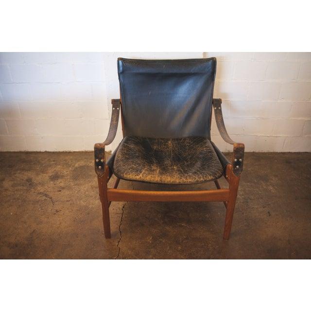 Hans Olsen Black Leather & Wood Safari Chair - Image 3 of 7