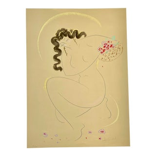 Vintage Japanese Nude Woman With Flowers Serigraph Signed Muramasa Kudo For Sale