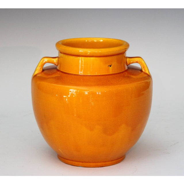 """Vintage hand-turned Awaji vase in sleek Art Deco form and bright yellow glaze, circa 1930. Measures: 7 1/4"""" high, 7 1/2""""..."""