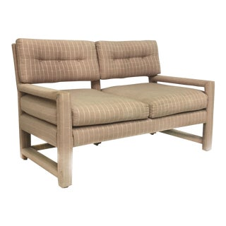 Milo Baughman Style Mid-Century Upholstered Parson Settee For Sale