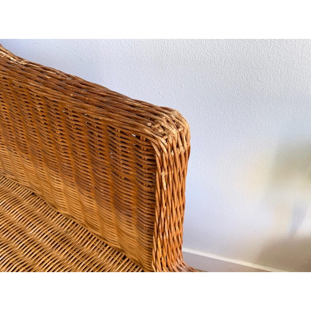 1990s Vintage Wicker Chaise For Sale - Image 9 of 11