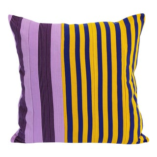 Vintage Purple, Blue & Yellow Striped Yoruba Nigerian Pillow For Sale