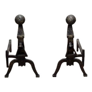 Black Hammered Andirons - A Pair For Sale