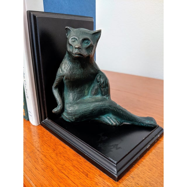 1970s Cast Metal Monkey Bookends, a Pair For Sale - Image 5 of 7