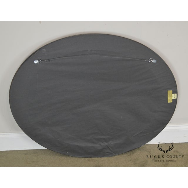 Black Roma Large Oval Frame Italian Wall Mirror For Sale - Image 8 of 13
