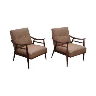 Modern Walnut Frame Lounge Chairs - Pair For Sale