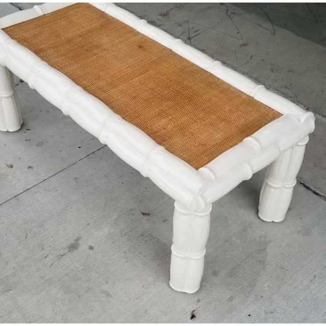 1950s Italian Palm Beach Style Blanc De Chine Terracotta Faux Bamboo Table For Sale In Miami - Image 6 of 7