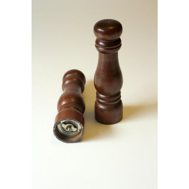 1970s Vintage 1970s Wood and Metal Salt and Pepper Shakers For Sale - Image 5 of 6