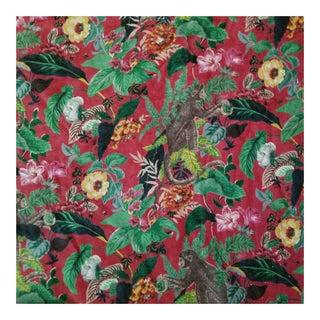 Red Monkey Chinoiseri Cotton Velvet Fabric - 10 Yards For Sale