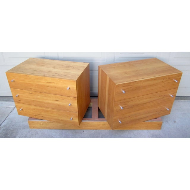 Vintage Milo Baughman designed maple (?) veneer double dresser on plinth stand for Thayer Coggin. Minimalist, modern,...