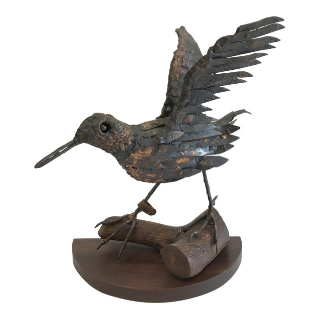 Vintage Copper Sandpiper Sculpture For Sale