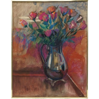 """""""Roses"""" Original 1984 Painting Oil Pastel on Stretched Linen Canvas by John Elliot For Sale"""