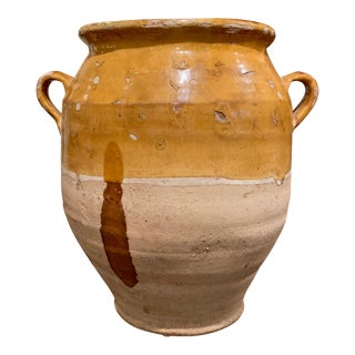 19th Century French Country Yellow Glazed Pottery Confit Pot From the Perigord For Sale