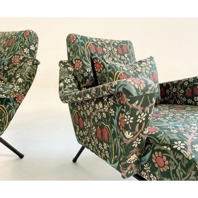 Black C. 1955 French Lounge Chairs in William Morris Blackthorn, Pair For Sale - Image 8 of 12