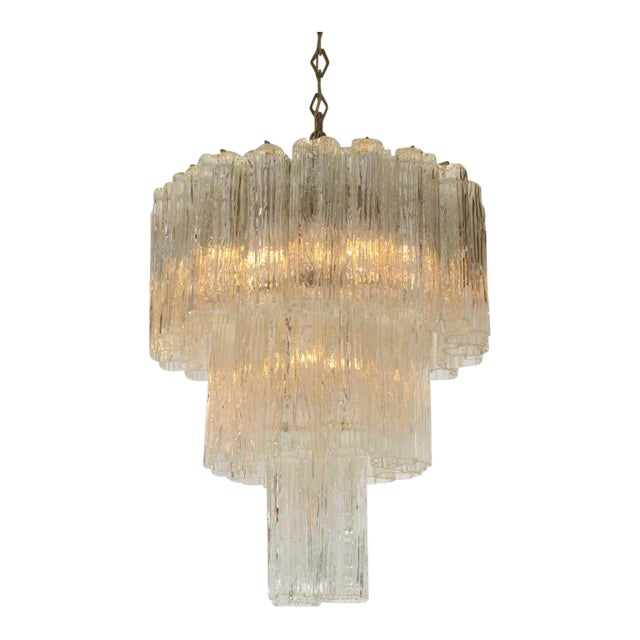 Camer 3 Tiered Tronchi Tube Murano Glass Chandelier For Sale