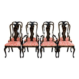 1980s Vintage Drexel Heritage Japaned Queen Ann-Style Dining Chairs- Set of 8 For Sale