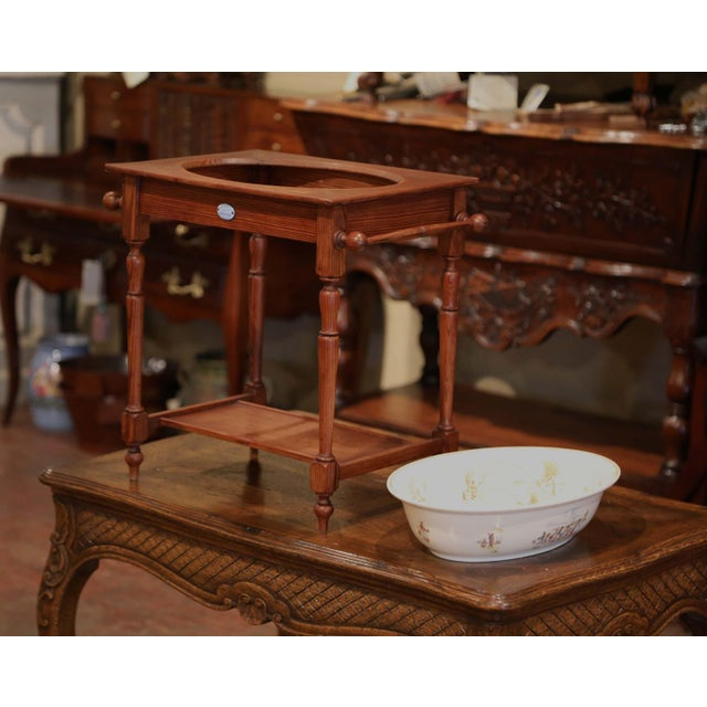 Wood 19th Century French Child Pine and Porcelain Washstand From Sarreguemines For Sale - Image 7 of 9