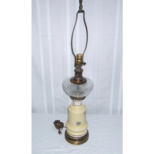 1940's Yellow Porcelain & Glass Table Lamp - Image 6 of 6