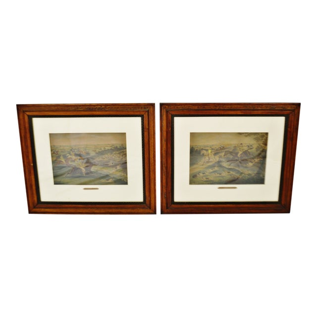 Vintage Framed Hunt Scene Lithographs Full Cry and the Death - a Pair For Sale
