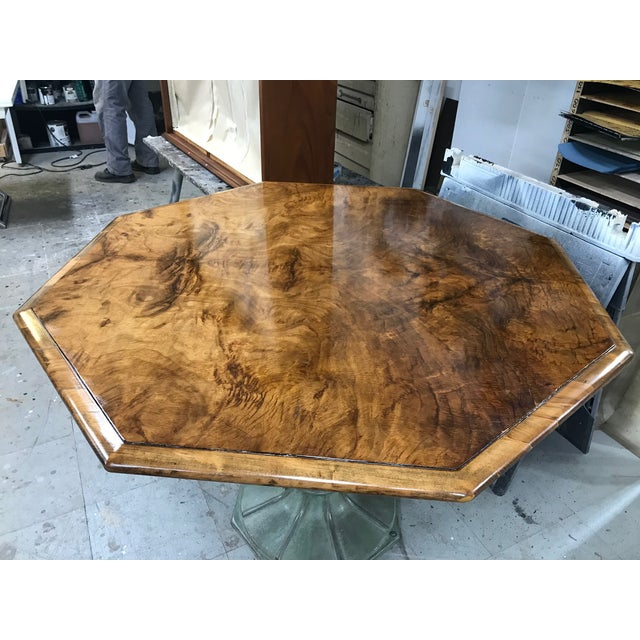 Modern Antique Hexagonal Crotch Mahogany Table With Fluted Metal Base For Sale - Image 3 of 8