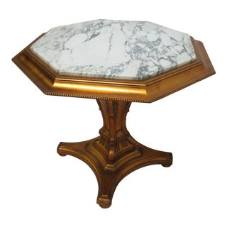 Vintage French Regency Gold Gilt Marble Top Pedestal Lamp End Table