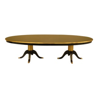 1990s Vintage Black Lacquer Regency Style Dining Table For Sale