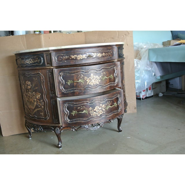 Vintage French commode with genuine imported lay on marble made of solid maple with three drawers and brass pulls. Commode...