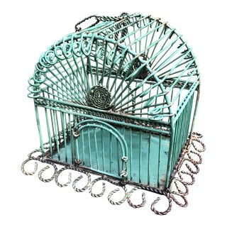 Wrought Iron Painted Birdcage For Sale