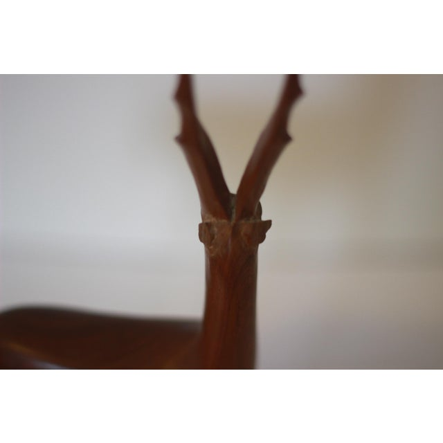 1960s Mid Century Modern Teak Carved Gazelle Statue For Sale - Image 5 of 6