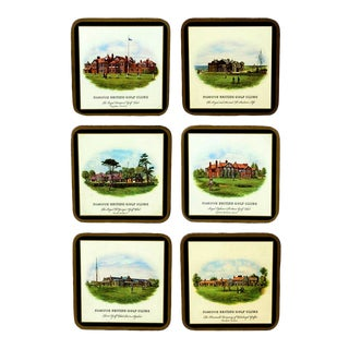 Vintage Illustration of Famous British Golf Clubs Coasters - Set of Six For Sale