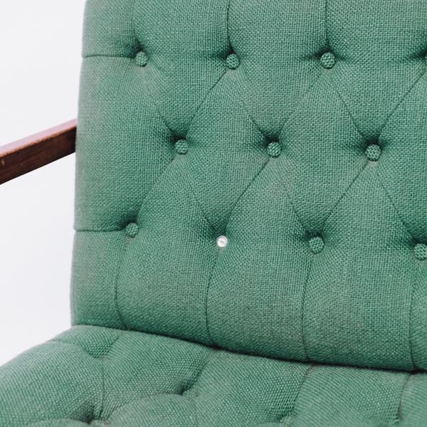 Vintage Green Wool Danish Arm Chairs Pair For Sale - Image 8 of 8