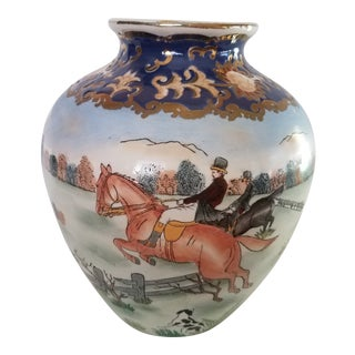 "Vintage Asian Cloisonne ""Hunt Scene"" Hand Painted Ceramic Jardiniere For Sale"