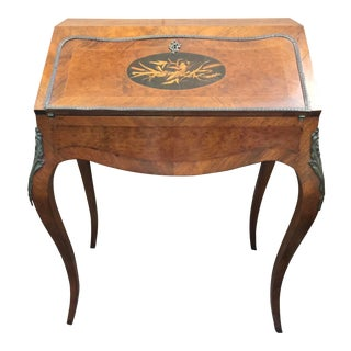 Louis XV Style Writing Desk Secretrary With Marquetry Inlay & Brass Mounts For Sale