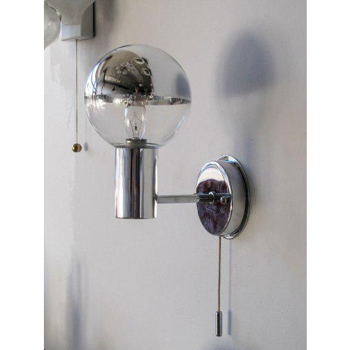Wonderful chrome and glass wall lights by Motoko Ishii for Staff Leuchten Germany, half mirrored screw-on glass globe,...