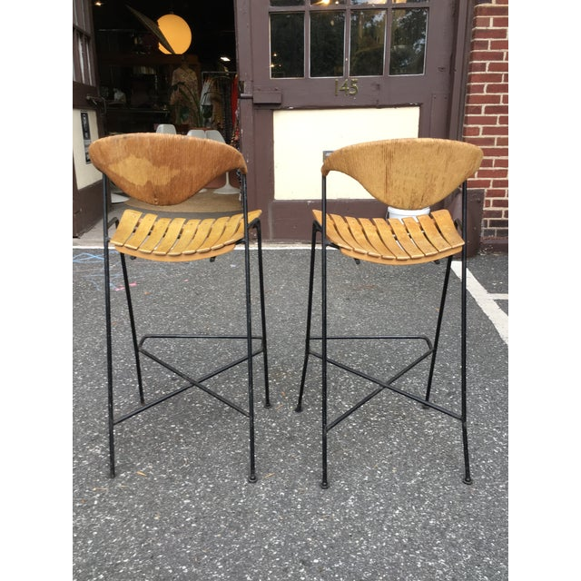 """Pair of Arthur Umanoff stools. These have a seat height of 27.75"""" seat height for a bar or counter."""