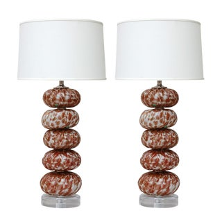 Murano Stacked Font Speckled Lamps